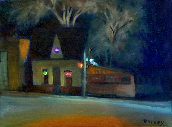 Oil painting of a bistro at night by John Hulsey