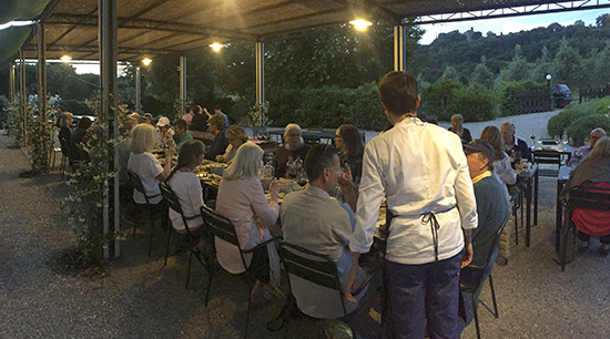 photo of dinner at Dopolavoro La Foce, Italy.© J. Hulsey