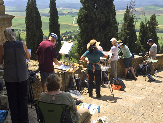 Photograph of Students Painting the Iconic Tuscany Landscape at Pienza © J. Hulsey