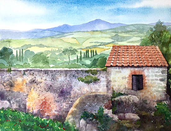 "Pienza Italia, 9 x 12"", Watercolor, © Cindy Wheeler"