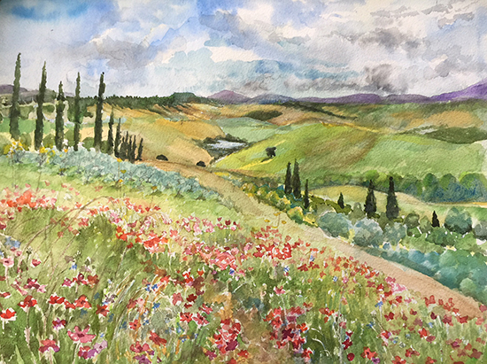 Poppy Fields, Watercolor, © Maryam Hjersted