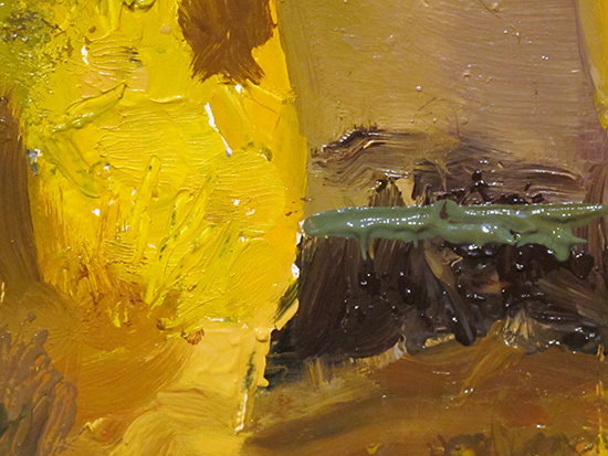 painting with palette knives in oil on panel, detail.