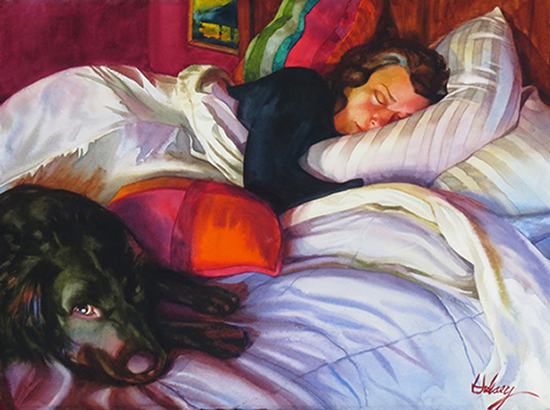 Figurative Watercolor Painting with Dog © John Hulsey