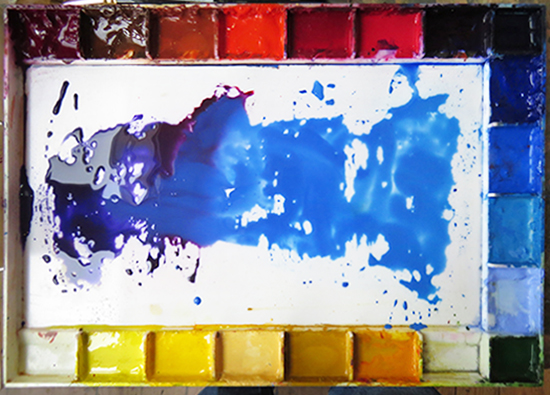 Photo of John Hulsey's watewrcolor palette.
