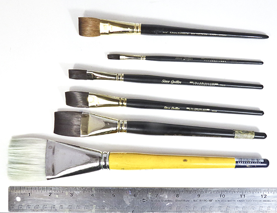 photo of flat watercolor brushes