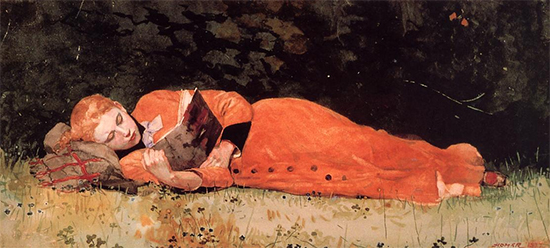 watercolor of young woman reading a book Winslow Homer