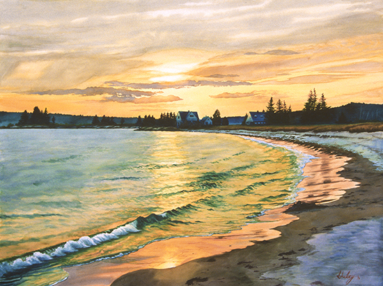 watercolor of ocean sunset by John Hulsey
