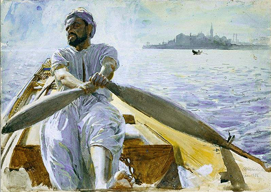 watercolor of a Turkish oarsman rowing a boat, by Anders Zorn