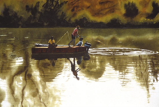 watercolor painting of people fishing from a boat on a river