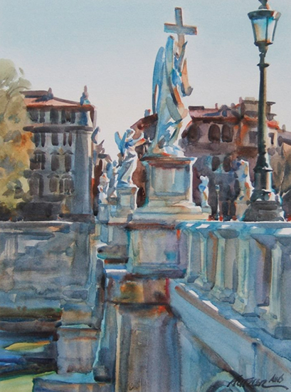 watercolor of abridge in Rome by Gerald Fritzler