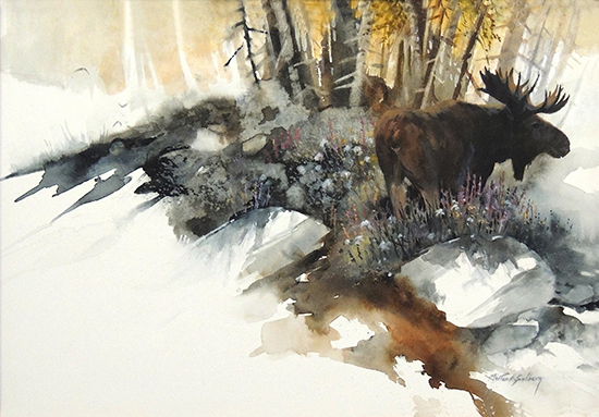 Watercolor of Moose and Trees, by Mort Solberg